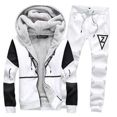 Quality Men Set Fleece Tracksuit Sweatshirt Pants Sporting Suit Men Plus Size 5XL Hoodies Set