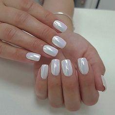 White Chrome Nails, White Nails, White Sparkle Nails, White Almond Nails, White Nail Art, Opal Nails, My Nails, Crome Nails, Finger