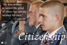 Citizenship was Hargrave's character trait for September 2013. This scene is from the Officer's Pledge at the beginning of the 2013-2014 Academic year.