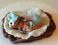 OWL BABY SHOWER Cake topper Fondant owl by BabyCakesByJennifer