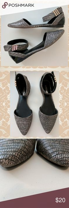 BCBG Generation Flats Uber cute buckle flats, with faux snake texture, good condition! Small scuff on front toe as pictured, some wear to bottom both pictured. BCBGeneration Shoes Flats & Loafers