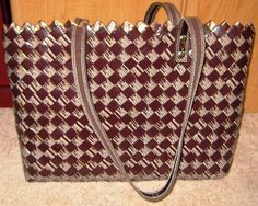 NAHUI OLLIN Twenty 4 Seven Chocolate Brown Patent Candy Wrapper Handbag Purse Bag