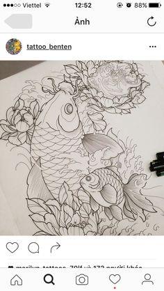 Japanese Tattoo Symbols, Japanese Tattoo Designs, Japanese Tattoo Art, Asian Tattoos, Dog Tattoos, Body Art Tattoos, Kio Fish Tattoo, Black Dragon Tattoo, Tattoo Studio