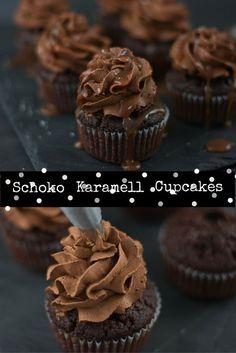 Ein luftig lockerer Schokoladen Cupcake mit dunkler Schoko-Sahne und ganz viel salzigem Karamell.