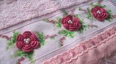 aplicação de flores de croche em toalhas - Pesquisa Google