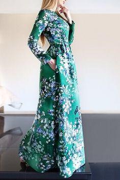 Floral Print Pocket Design Fit and Flare Maxi Dress