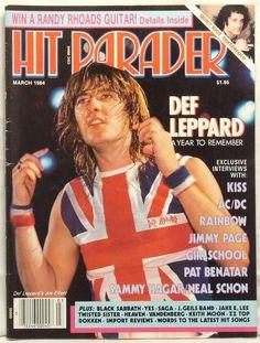 joe elliott def leppard | Hit Parader Magazine Joe Elliott Def Leppard Kiss AC DC Jimmy Page Pat