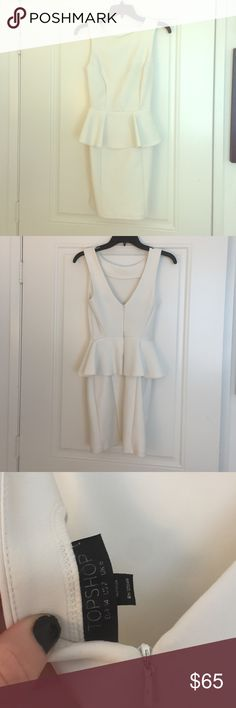 TOPSHOP peplum dress Beautiful form fitting (and flattering) white peplum dress. Topshop Dresses