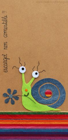 Escargot non comestible !! Recyclage des pantalons #jeans #recycle http://pinterest.com/fleurysylvie/mes-creas-la-collec/