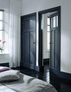 Dark doors and black floor Black Doors, Dark Doors, House Design, House, Interior, Home, Doors Interior, House Interior, Black Floor