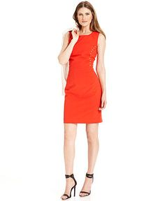 Calvin Klein Petite Dress, Sleeveless Sheath Grommet - Petite Suits & Separates - Women - Macy's