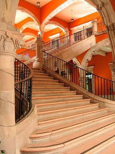 beautiful stairs in Mexico.love the orange Stairs And Staircase, Take The Stairs, Basement Stairs, Grand Staircase, Spiral Staircase, Beautiful Stairs, Beautiful Places, Art And Architecture, Architecture Details