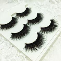 3 Pares De Las Mujeres de Las Señoras de Maquillaje Grueso Ojo Pestañas Falsas Pestañas largo Negro 3D Natural Falsas pestañas hecho a mano Puro Maquillaje herramienta de La Belleza