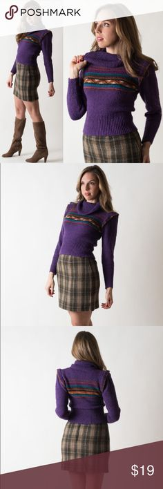 Vintage 1980s Grape Cowl Neck Sweater Made by Loan Knits. Circa 1980s. Labeled size S but this fits more like an XS. Made of an acrylic/nylon blend.   { m e a s u r e m e n t s }  taken with garment laying flat s h o u l d e r : 13 inches (seam to seam) b u s t : up to 16 inches (armpit to armpit) w a i s t : 9-13 inches across l e n g t h : 20 inches (top to bottom) s l e e v e : 24 inches (from shoulder) Vintage Sweaters Cowl & Turtlenecks