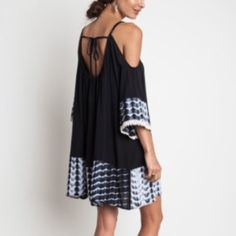 Black Tie Dye Cold Shoulder Dress Adorable dress perfect for summer end and fall! S M L. Available in black tie dye  M L Dresses Mini