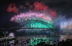 The midnight fireworks display at Sydney Harbour, Australia