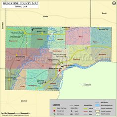 Muscatine County Map for free download