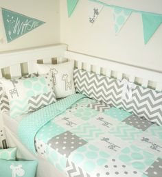 Patchwork quilt nursery set Mint and grey giraffes Mint