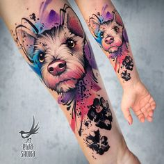 Me and are still looking for a customer on if you're interested in getting tattoo from us which going to be a mix of and please write me an e-mail ewasrokatattoo@ Tatoo Dog, Dog Tattoos, Animal Tattoos, Cute Tattoos, Flower Tattoos, Body Art Tattoos, Print Tattoos, Sleeve Tattoos, Elephant Tattoos