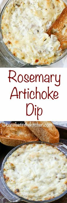 This Rosemary Artichoke Dip is about to become your new favorite party dip, holiday appetizer, and movie night snack craving. I made this dip for my family a few weeks ago and it was devoured Dip Recipes, Great Recipes, Snack Recipes, Cooking Recipes, Favorite Recipes, Easy Recipes, Reuben Sandwich, Appetizer Dips