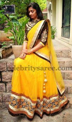 Georgette Half Saree in Yellow | Saree Blouse Patterns