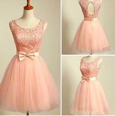 Lovely Blush Pink Short Ball Gwon Tulle Prom Dresses 2015 with Lace and Bow, Homecoming Dresses 2015, Winter formal Dresses, Graduation Dresses