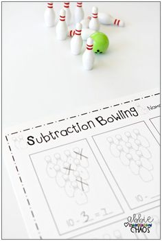 Use this Subtraction Bowling FREEBIE game for your Kindergarten classroom and students! This game and free printable will help aid in teaching subtraction, as well as give needed practice! Subtraction Kindergarten, Kindergarten Math Games, Subtraction Activities, Preschool Math, Math Classroom, Teaching Math, Math Activities, Numeracy, Kindergarten Addition