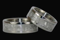 White Ulexite Titanium Ring Set by Hawaii by Hawaiititanium, $690.00