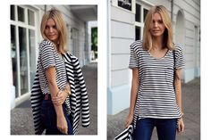 Loving the striped shirt and denim trend