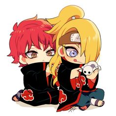 Aaawww, Sasori playing with Deidara's hair :3 soo cute <3