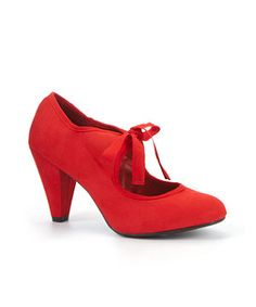 Sunset Red (Red) Red Lace Up Mid Heel Shoes  | New Look