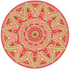 Top Mandalas Gratuits - Mandala Rond 11 Rouge Vert - Mandala colorié par Antoine - Exemple de mandala colorié