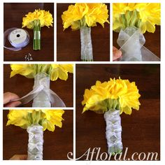 How to Wrap a Bouquet with Ribbon, Braided Bouquet Wrap.