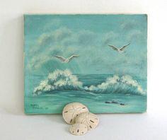 Vintage Oil Painting Beach Seagulls Ocean Waves by outofdoha2010