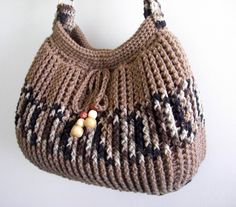 Crochet brown shoulder bag, crochet spring/summer/fall shoulder bag, crochet shoulder bag 2013. $50.00, via Etsy.