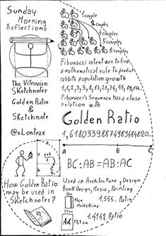 The Vitruvian Sketchnoter - Golden Ratio Fibonacci Golden Ratio, Fibonacci Spiral, Fibonacci Number, Divine Proportion, Golden Number, Design Theory, High School Classes, Sketch Notes, Teaching Art
