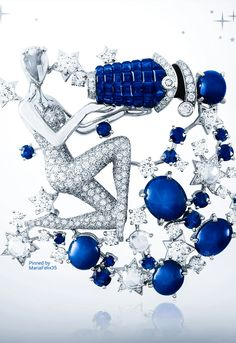 Van Cleef & Arpels Zodiac Collection~  The Pisces Sign in Diamonds n Sapphires