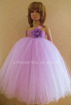 Lavender Flower Girl Tutu Dress, Formal Toddler Dress, Long Dresses