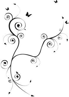 Volutes et papillons - pretty tattoo design