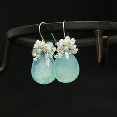 Kieshi freshwater pearls turquoise and etheopian yellow sparkling opal earrings on sterling silver