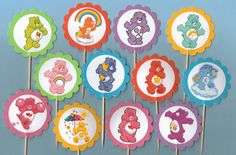 Care Bear Cupcake Toppers set of 12 food picks Purple Birthday Decorations Carebear