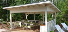 Kuvahaun tulos haulle moderni grillikatos Outdoor Spaces, Outdoor Living, Outdoor Decor, Pergola Patio, Backyard, Pool Cabana, Porch Area, Garden Cottage, Outdoor Projects