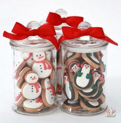 Mini mantequilla de cacahuete de los muñecos de nieve y pingüino Recuerdos Tarros Sweetopia