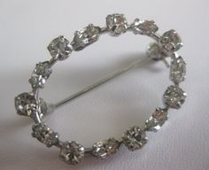 Rhinestone Pin Brooch Signed Made in by FloridaPickinAndArt