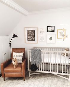 We can't get over how cute this nursery gallery wall is. We loved the mix of frames styes and frame sizes. The natural wood marin frame mixes perfectly with clean white gallery frames and a soft metal (Mix Wood Nursery) Baby Room Design, Nursery Design, Baby Room Decor, Nursery Decor, Nursery Themes, Nursery Ideas, Room Baby, Boy Room, Room Ideas