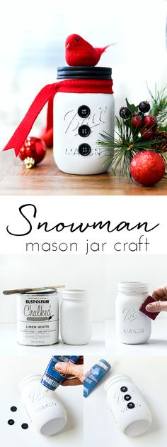 Snowman Mason Jar Craft - Winter Craft Ideas with Mason Jars