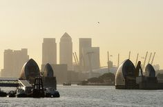 Thames Barrier, Millennium Dome & Canary Charf in London