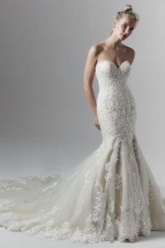 Koda by Sottero & Midgley Wedding Dresses. Beautiful lace sweetheart neckline bridal gown with fitted skirt. Collection starts at $1,200 & up. Make an appointment at Precious Memories in Boston, Ma. 781-397-1336. Sottero And Midgley Wedding Dresses, Strapless Lace Wedding Dress, Lace Mermaid Wedding Dress, Sexy Wedding Dresses, Mermaid Dresses, Wedding Gowns, Sottero Midgley, Wedding Bells, Wedding Bride
