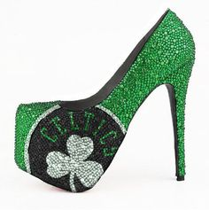 HERSTAR™ Boston Celtics Limited Edition Crystal Pumps (Boston Celtics, crystal pumps, NBA) | NBA Shoes | HERSTAR-Sports Fashion High Heels.......these are soooo HOT!!!!