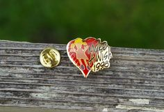 Wal-Mart Make A Wish 1998 Red Heart Gold Tone Metal Enamel Lapel Pin Pinback